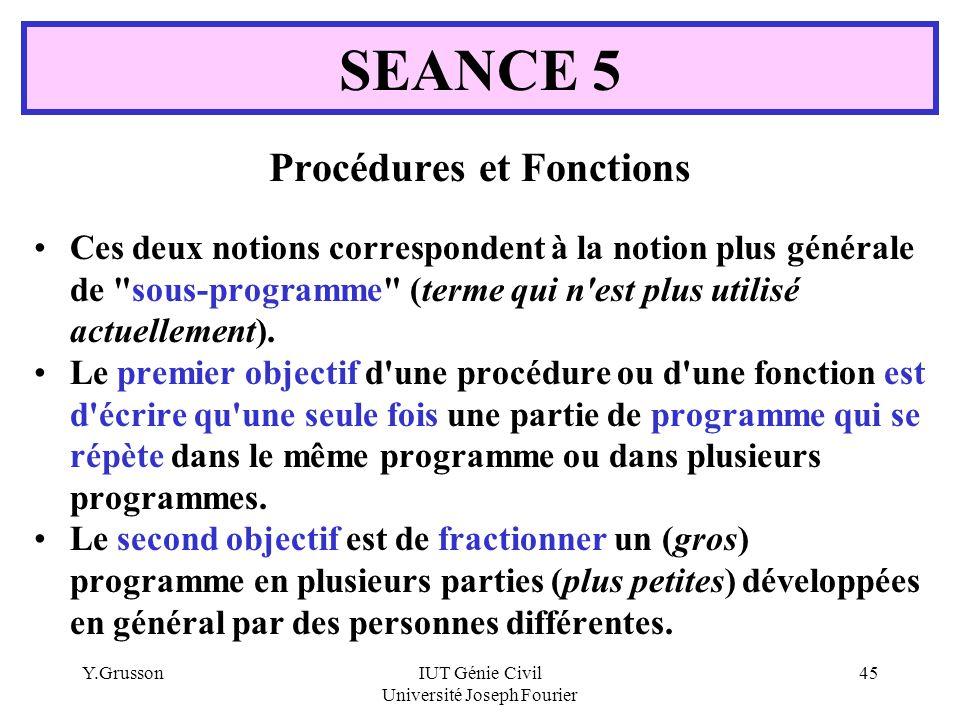 Procédures et Fonctions