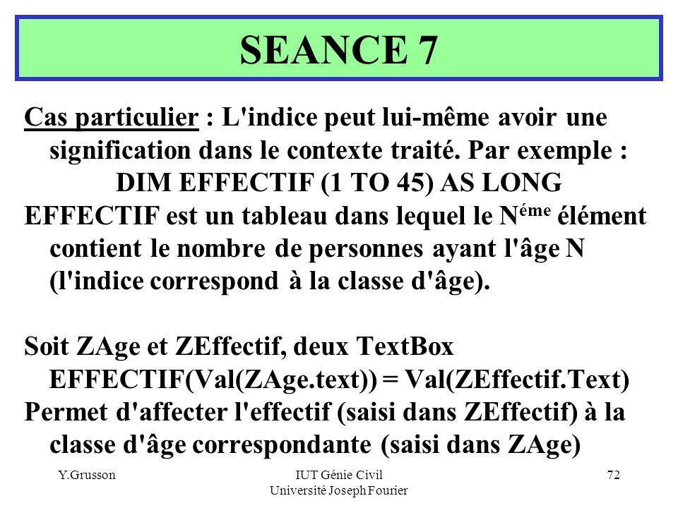 SEANCE 7 Cas particulier : L indice peut lui-même avoir une signification dans le contexte traité. Par exemple :