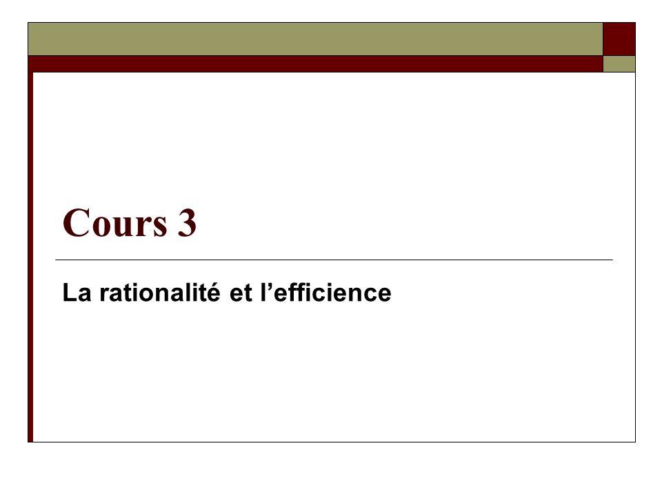 La rationalité et l'efficience