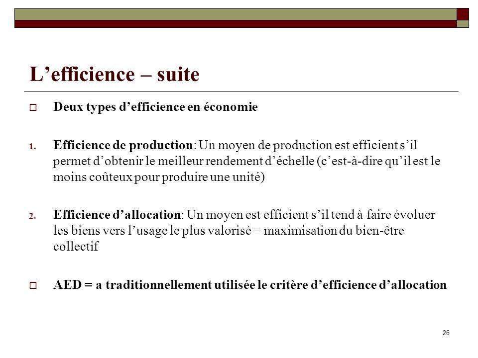 L'efficience – suite Deux types d'efficience en économie