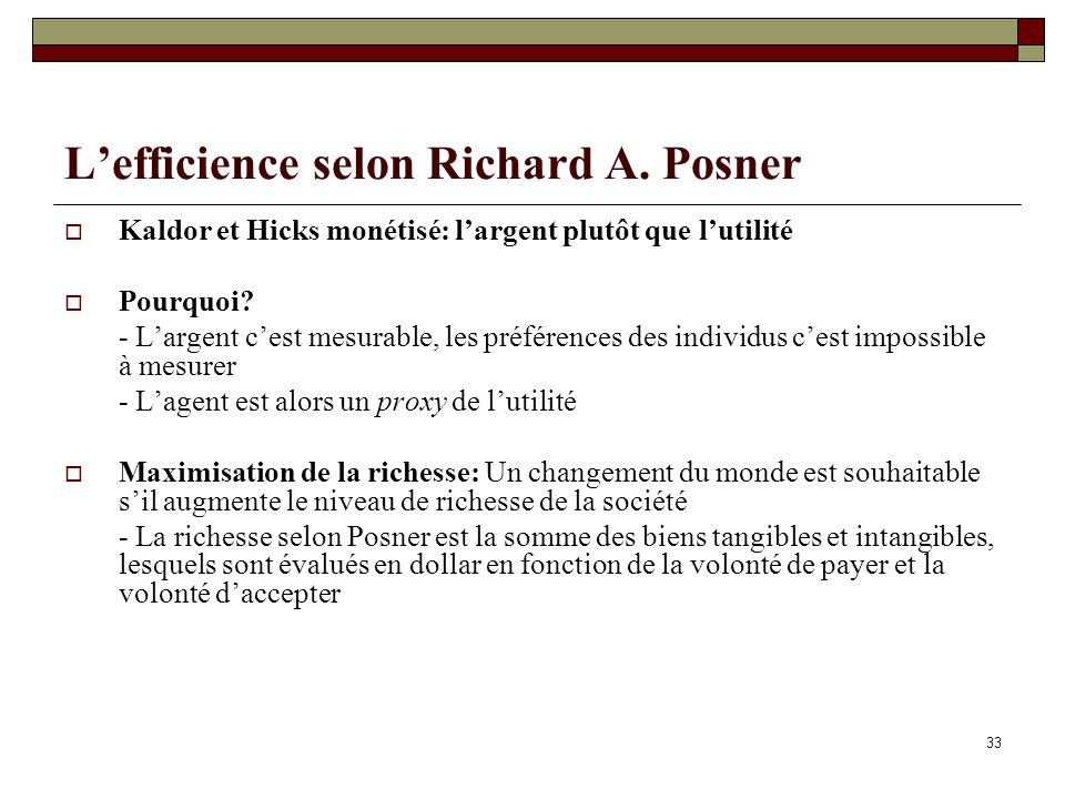 L'efficience selon Richard A. Posner