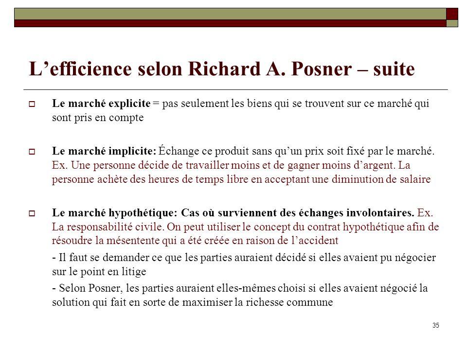 L'efficience selon Richard A. Posner – suite