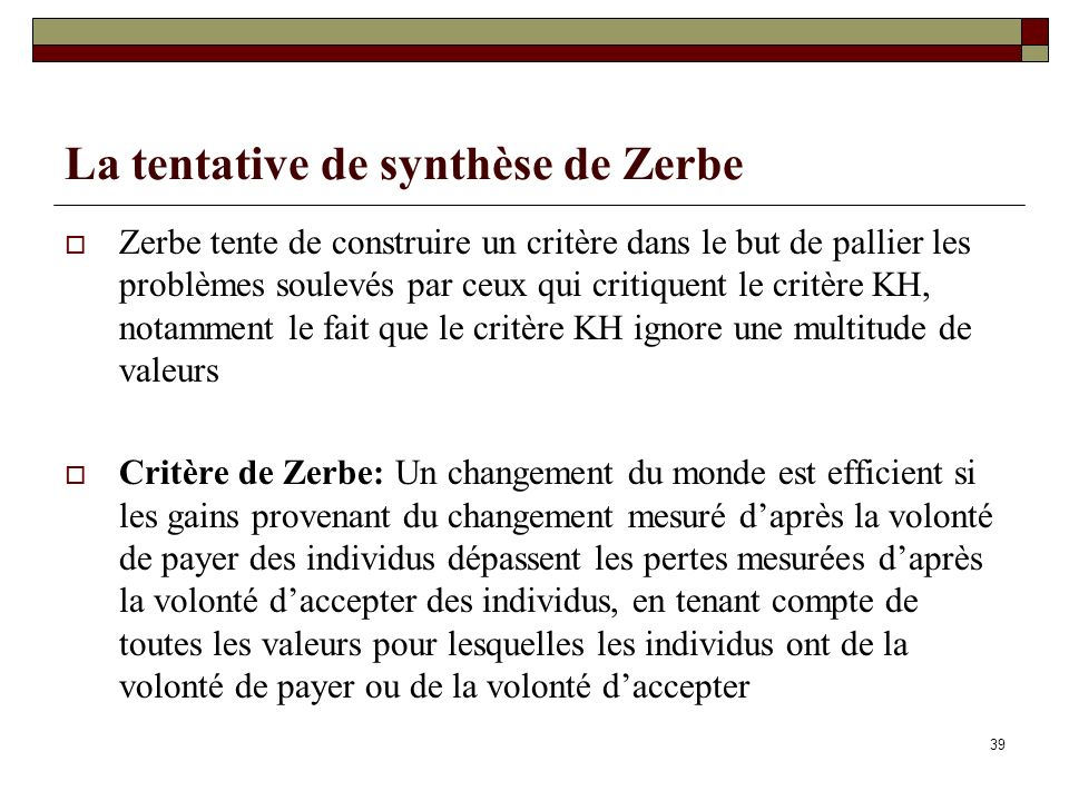 La tentative de synthèse de Zerbe