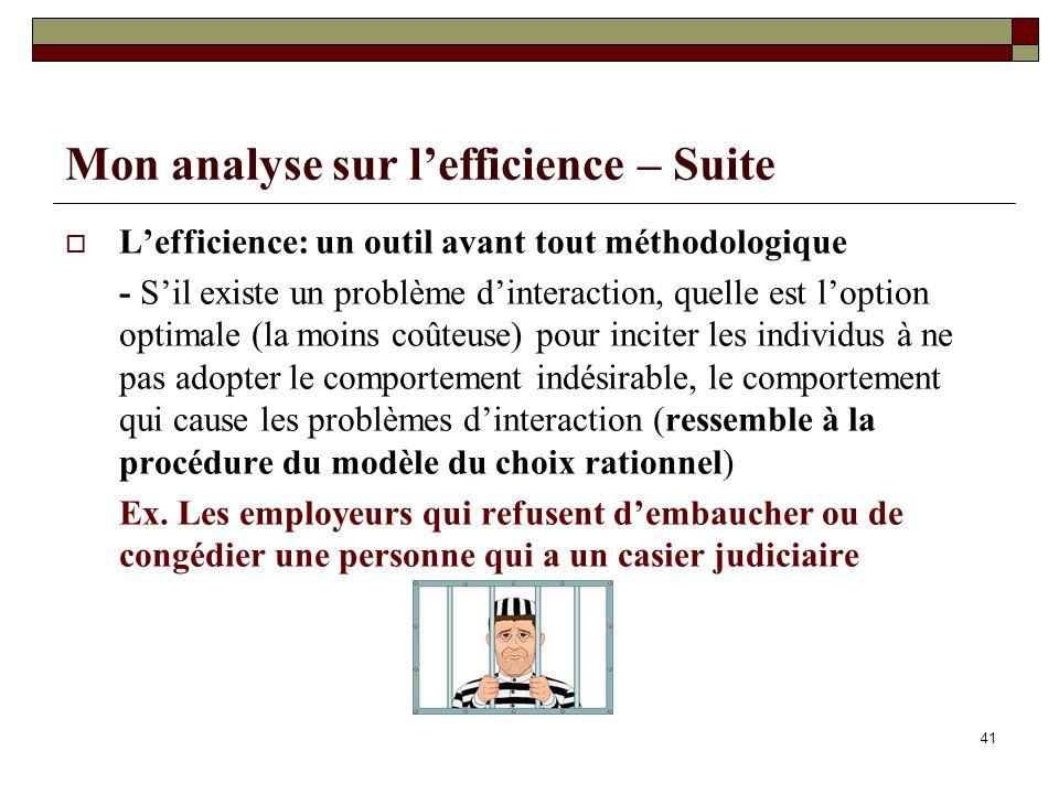 Mon analyse sur l'efficience – Suite