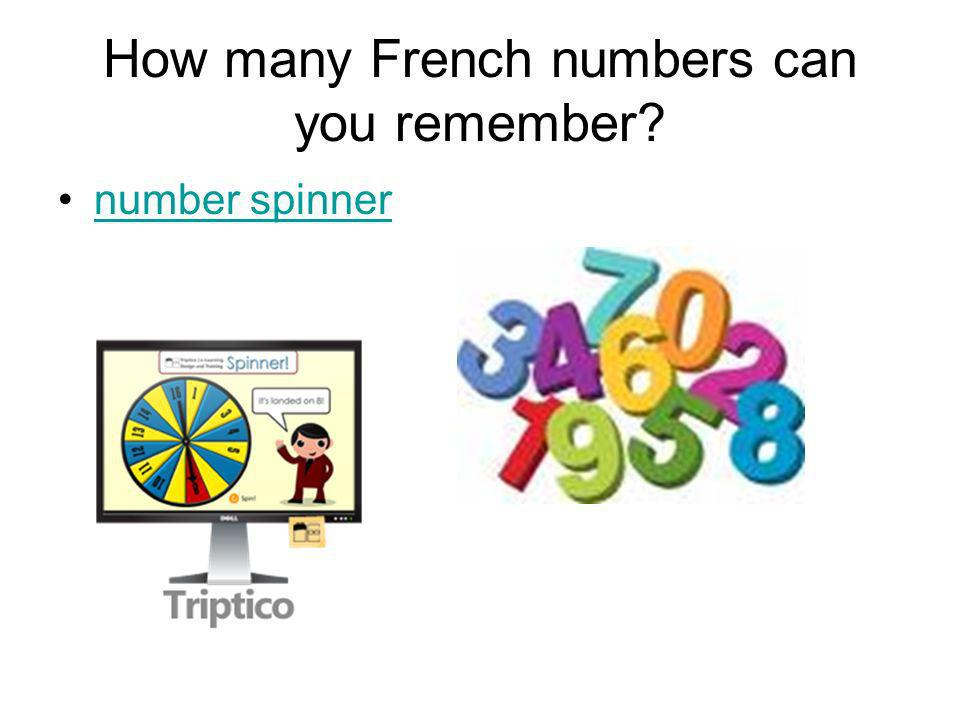 How many French numbers can you remember