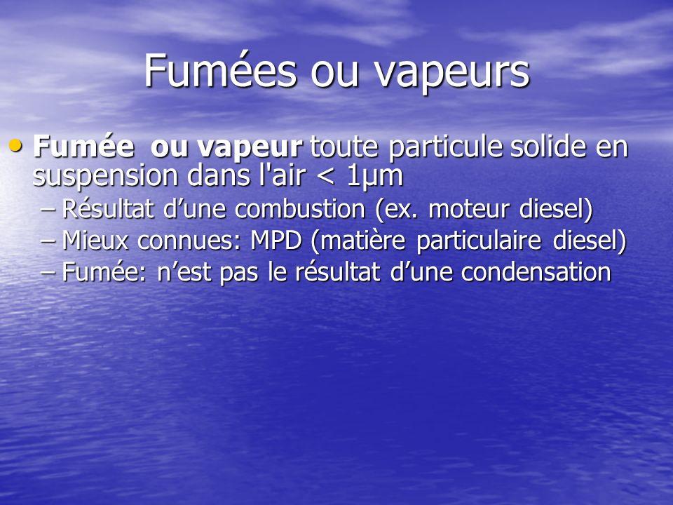 Fumées ou vapeurs Fumée ou vapeur toute particule solide en suspension dans l air < 1μm. Résultat d'une combustion (ex. moteur diesel)