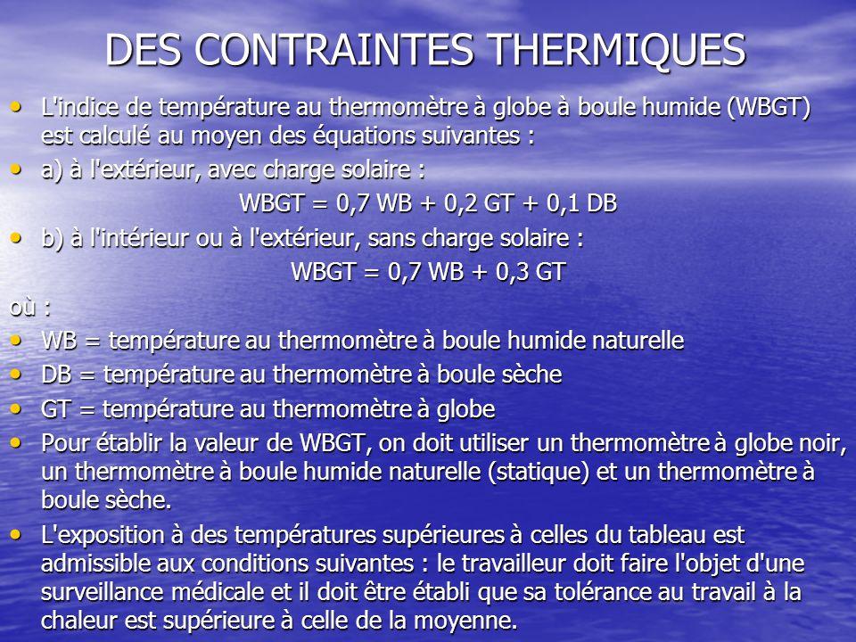 DES CONTRAINTES THERMIQUES