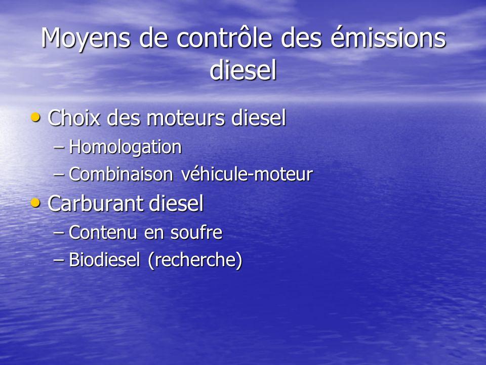 Moyens de contrôle des émissions diesel