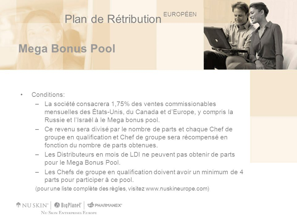 Plan de Rétribution Mega Bonus Pool Conditions:
