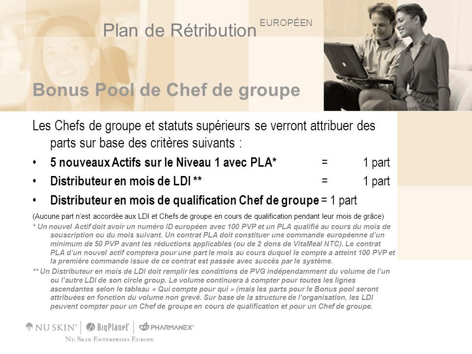 Bonus Pool de Chef de groupe