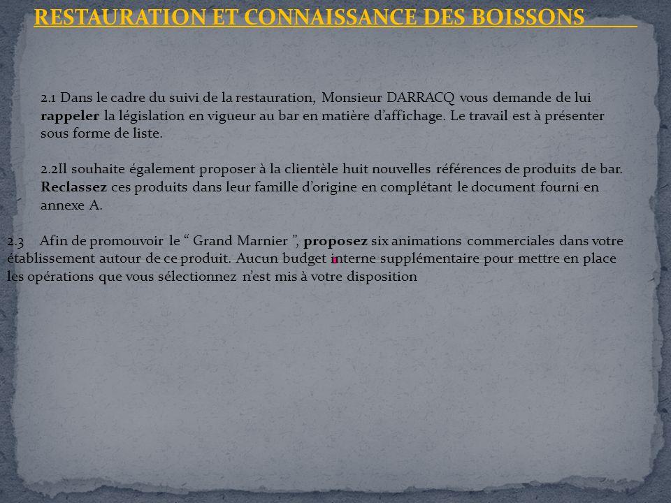 RESTAURATION ET CONNAISSANCE DES BOISSONS