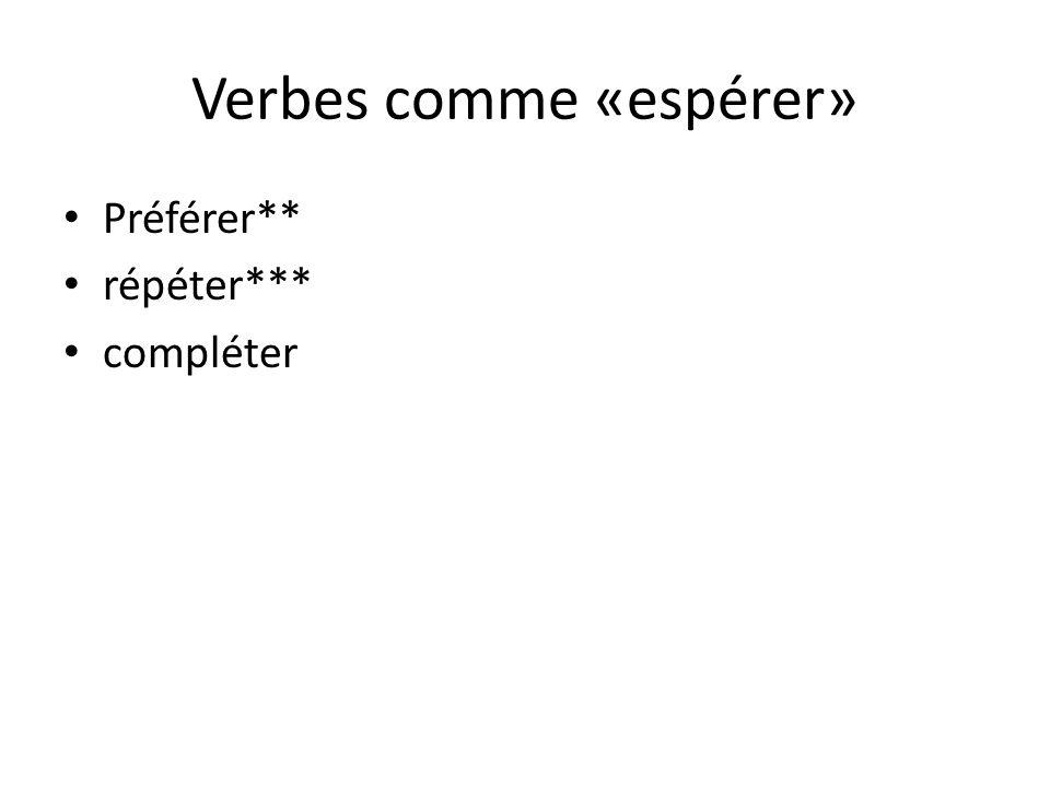 Verbes comme «espérer»