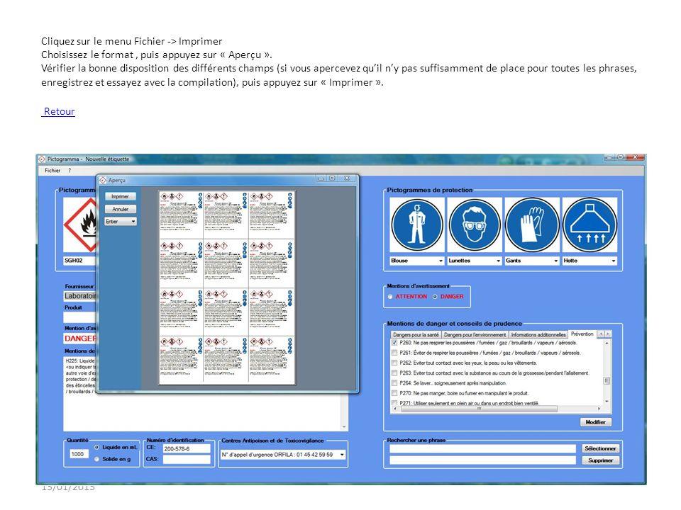 Cliquez sur le menu Fichier -> Imprimer Choisissez le format , puis appuyez sur « Aperçu ». Vérifier la bonne disposition des différents champs (si vous apercevez qu'il n'y pas suffisamment de place pour toutes les phrases, enregistrez et essayez avec la compilation), puis appuyez sur « Imprimer ». Retour