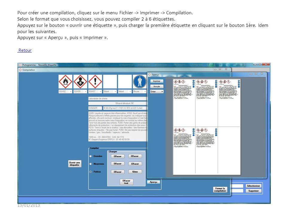 Pour créer une compilation, cliquez sur le menu Fichier -> Imprimer -> Compilation. Selon le format que vous choisissez, vous pouvez compiler 2 à 6 étiquettes. Appuyez sur le bouton « ouvrir une étiquette », puis charger la première étiquette en cliquant sur le bouton 1ère. Idem pour les suivantes. Appuyez sur « Aperçu », puis « Imprimer ». Retour