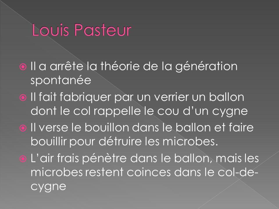 Louis Pasteur Il a arrête la théorie de la génération spontanée