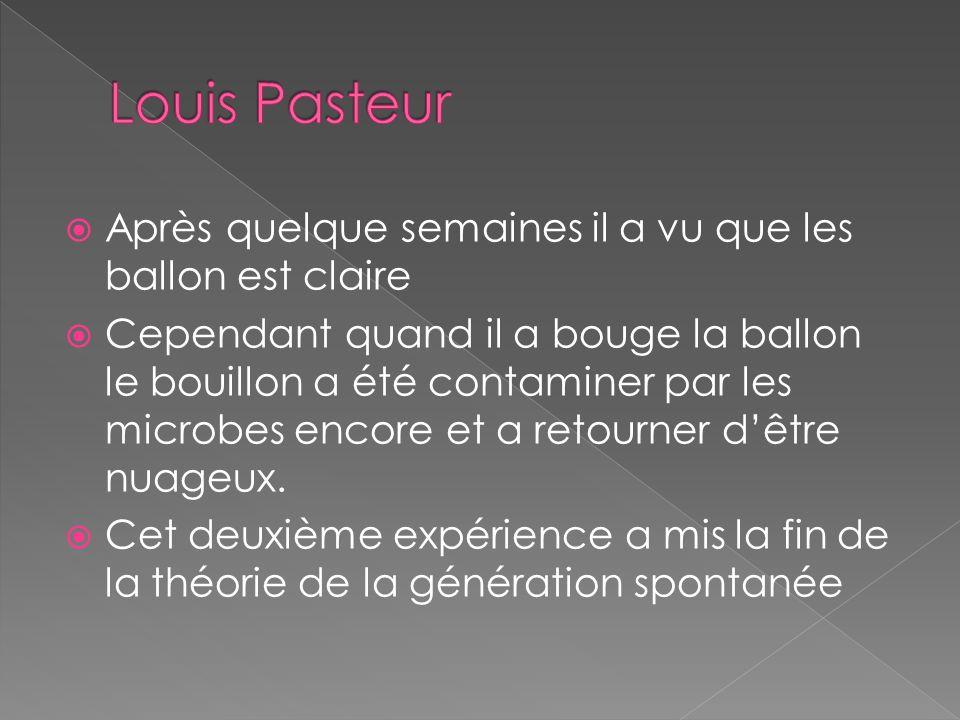Louis Pasteur Après quelque semaines il a vu que les ballon est claire