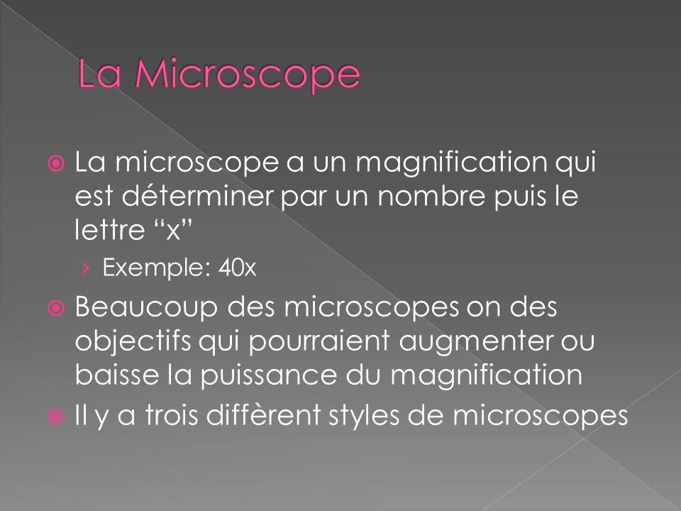 La Microscope La microscope a un magnification qui est déterminer par un nombre puis le lettre x Exemple: 40x.