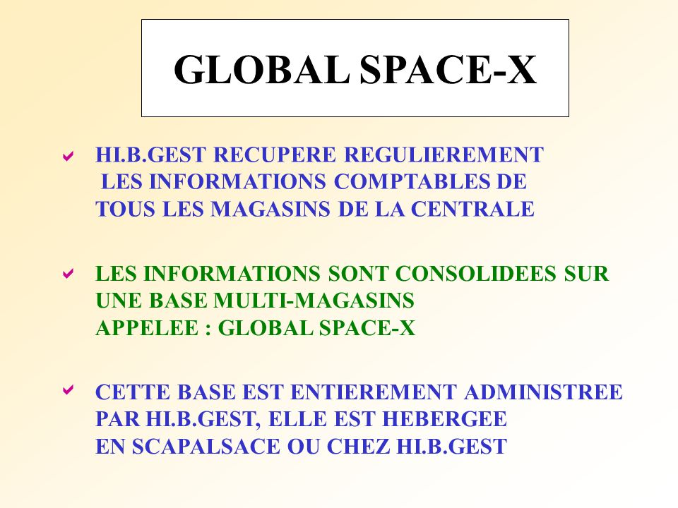 GLOBAL SPACE-X  HI.B.GEST RECUPERE REGULIEREMENT