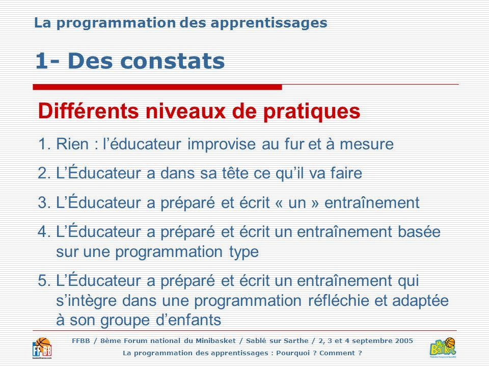 La programmation des apprentissages 1- Des constats