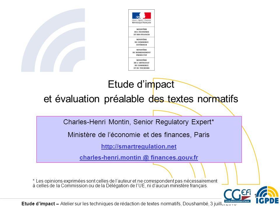 Etude d'impact et évaluation préalable des textes normatifs