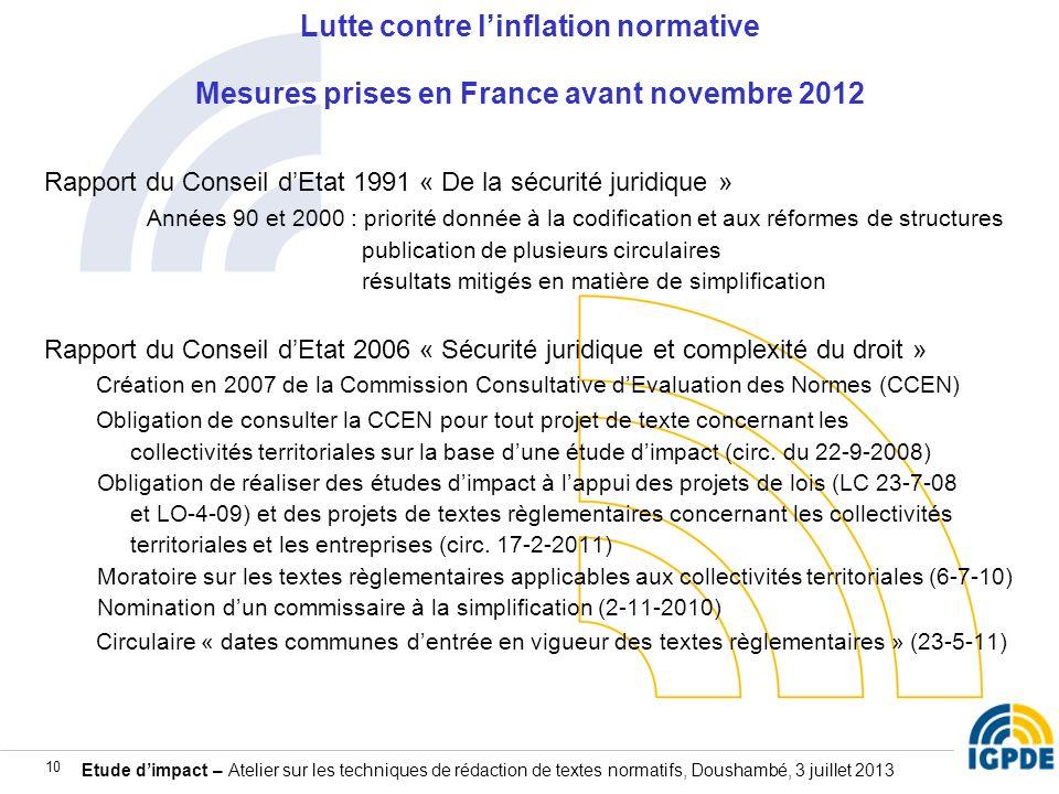 Lutte contre l'inflation normative Mesures prises en France avant novembre 2012