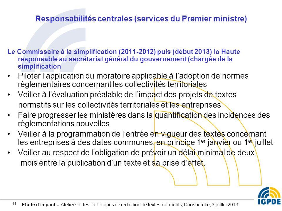 Responsabilités centrales (services du Premier ministre)