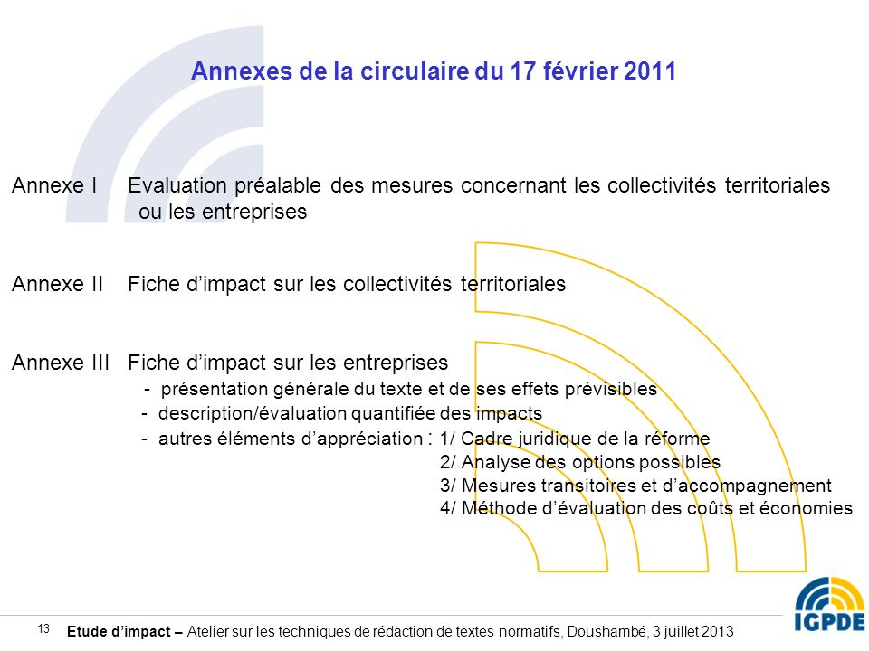 Annexes de la circulaire du 17 février 2011
