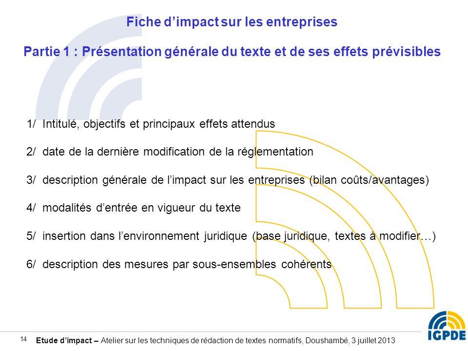 Fiche d'impact sur les entreprises Partie 1 : Présentation générale du texte et de ses effets prévisibles