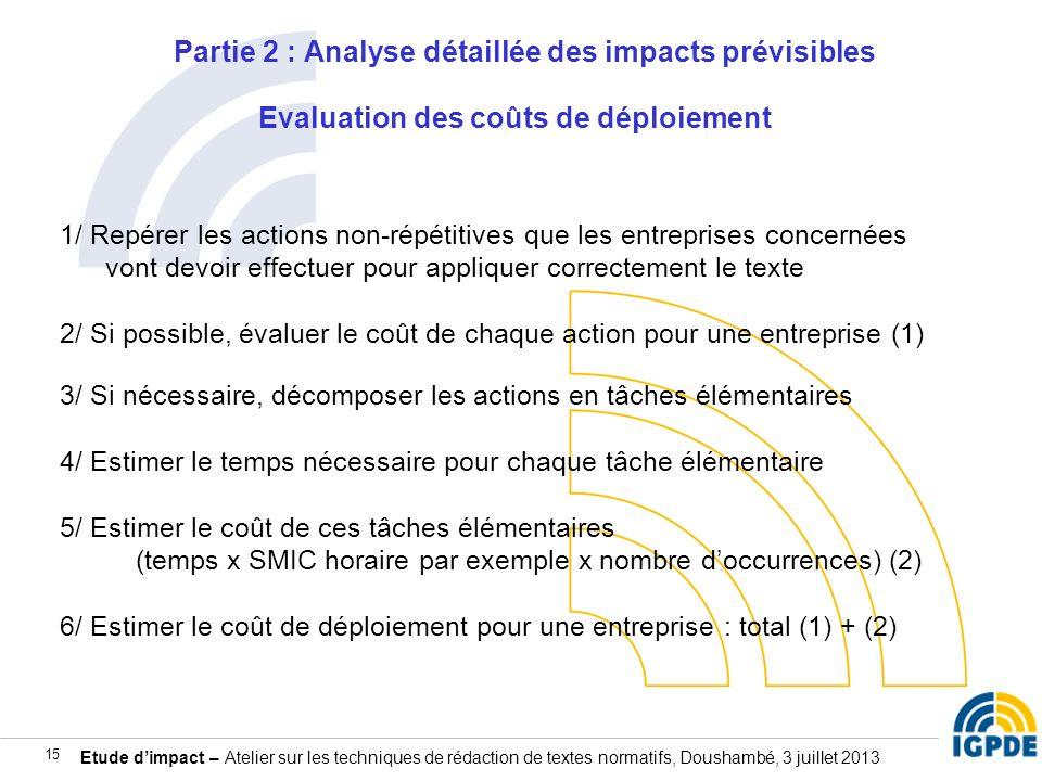 Partie 2 : Analyse détaillée des impacts prévisibles Evaluation des coûts de déploiement