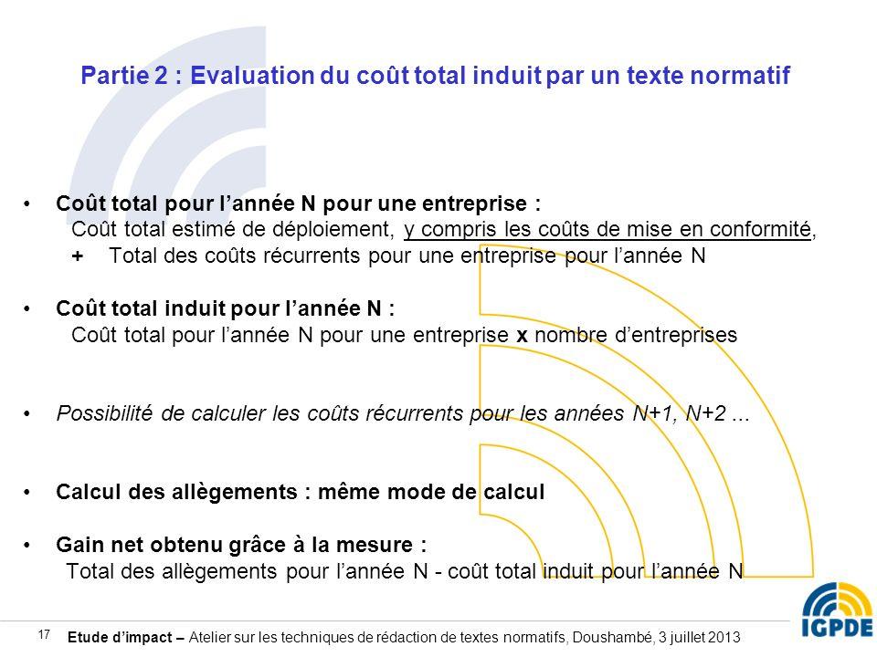 Partie 2 : Evaluation du coût total induit par un texte normatif