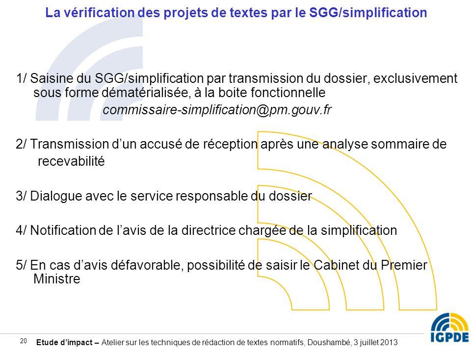 La vérification des projets de textes par le SGG/simplification