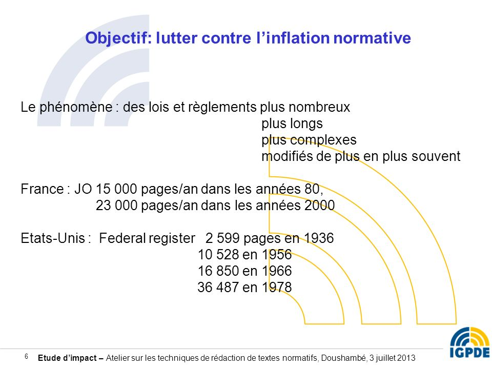 Objectif: lutter contre l'inflation normative