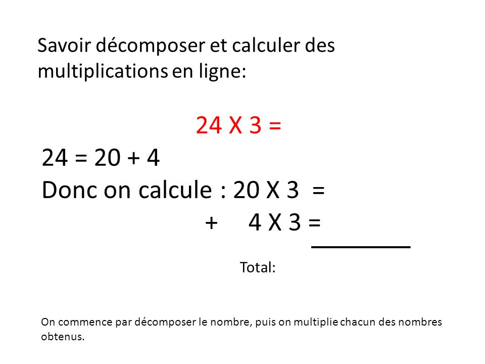 24 X 3 = 24 = 20 + 4 Donc on calcule : 20 X 3 = + 4 X 3 = 6 0 1 2 7 2