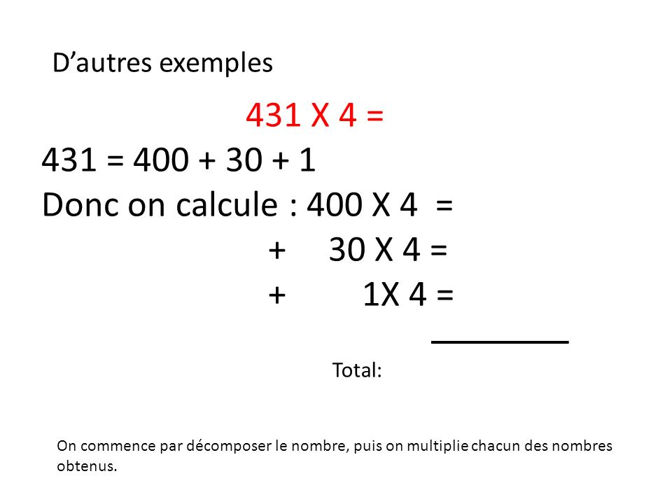 431 X 4 = 431 = 400 + 30 + 1 Donc on calcule : 400 X 4 = + 30 X 4 =