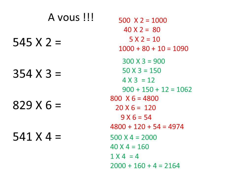 A vous !!! 500 X 2 = 1000. 40 X 2 = 80. 5 X 2 = 10. 1000 + 80 + 10 = 1090. 545 X 2 = 354 X 3 =