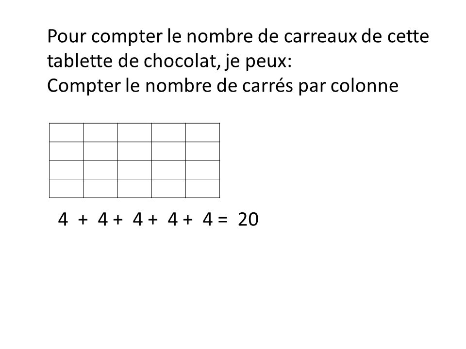 Pour compter le nombre de carreaux de cette tablette de chocolat, je peux: