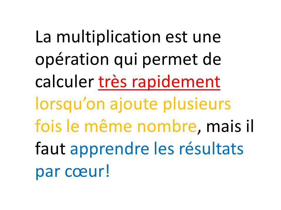 La multiplication est une opération qui permet de calculer très rapidement lorsqu'on ajoute plusieurs fois le même nombre, mais il faut apprendre les résultats par cœur!