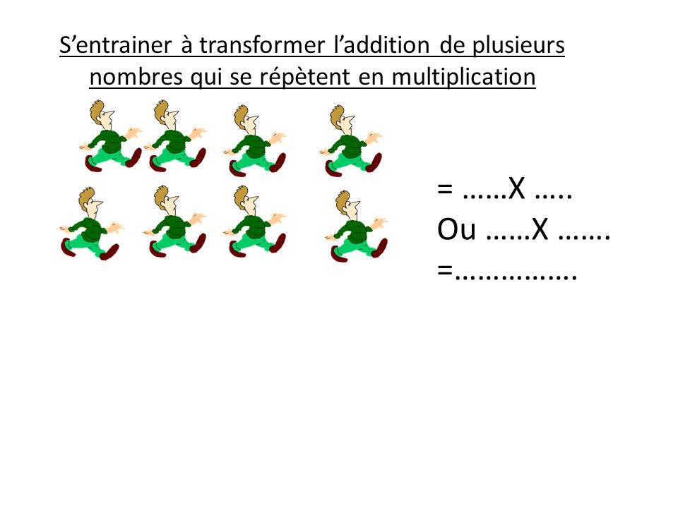 S'entrainer à transformer l'addition de plusieurs nombres qui se répètent en multiplication