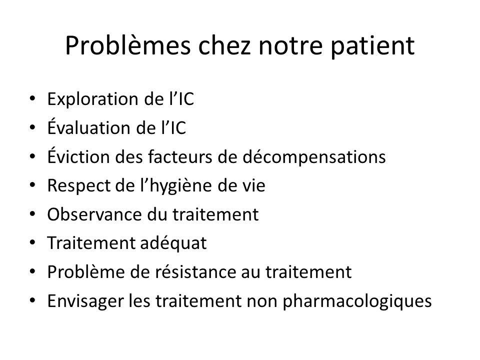 Problèmes chez notre patient