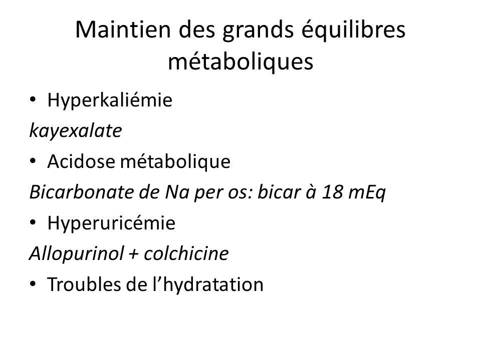 Maintien des grands équilibres métaboliques