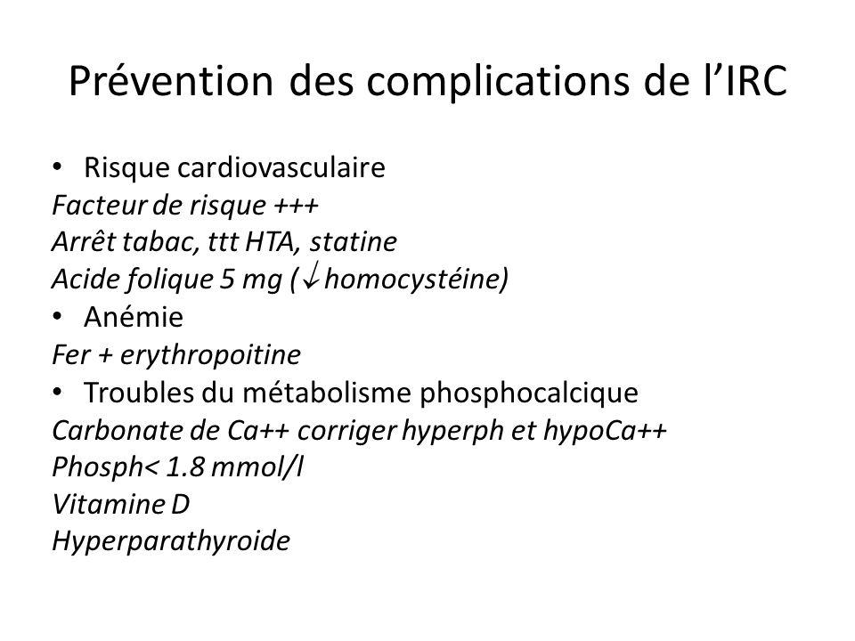 Prévention des complications de l'IRC