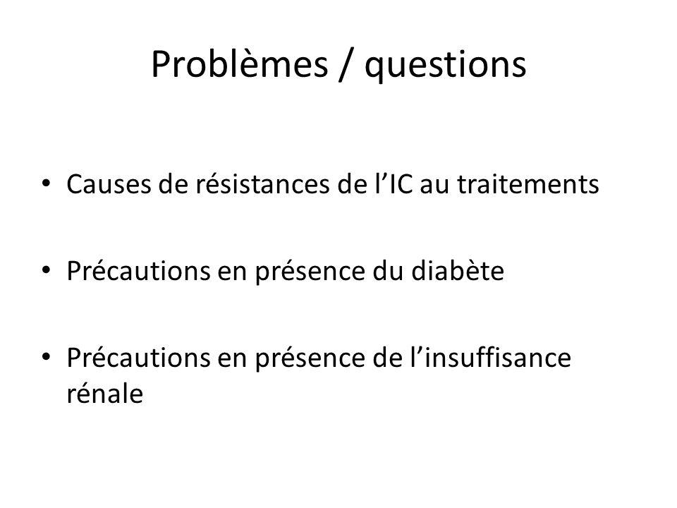 Problèmes / questions Causes de résistances de l'IC au traitements