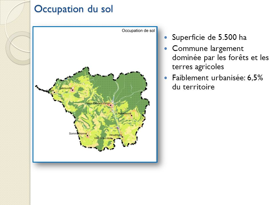 Occupation du sol Superficie de 5.500 ha