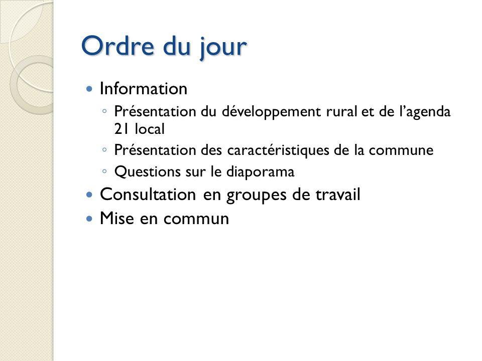 Ordre du jour Information Consultation en groupes de travail