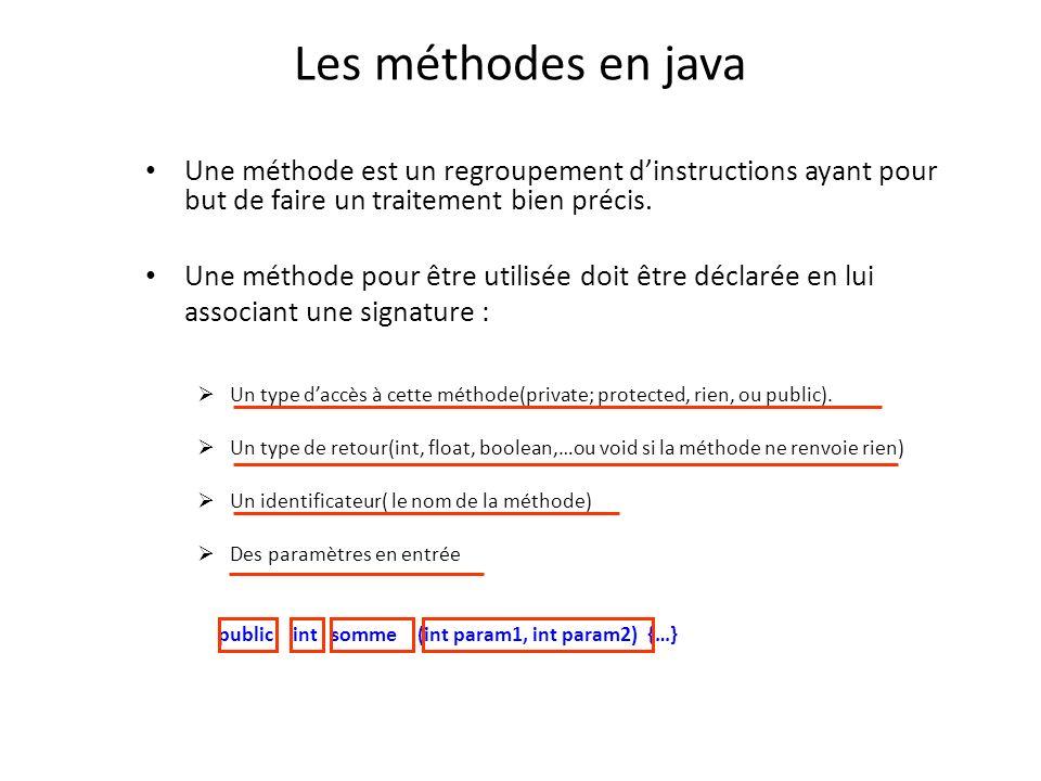Les méthodes en java Une méthode est un regroupement d'instructions ayant pour but de faire un traitement bien précis.