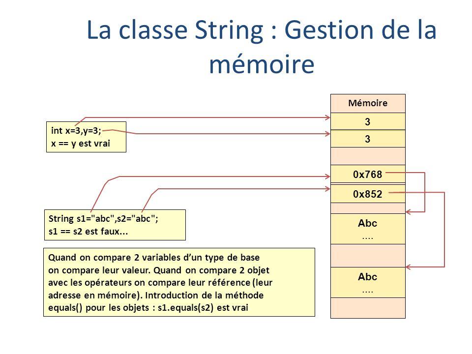 La classe String : Gestion de la mémoire
