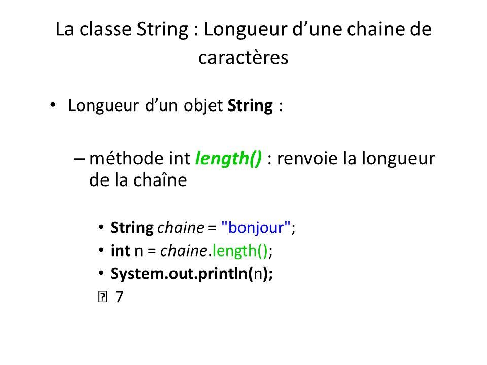 La classe String : Longueur d'une chaine de caractères