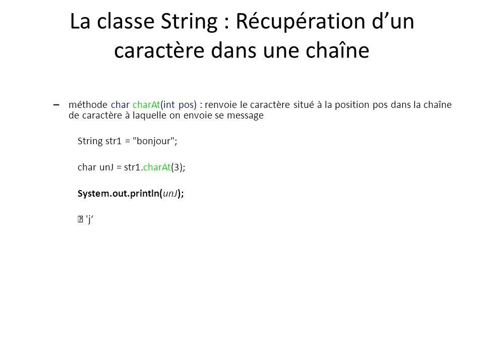 La classe String : Récupération d'un caractère dans une chaîne