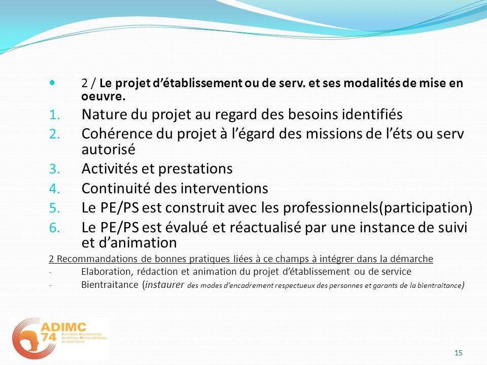 Nature du projet au regard des besoins identifiés