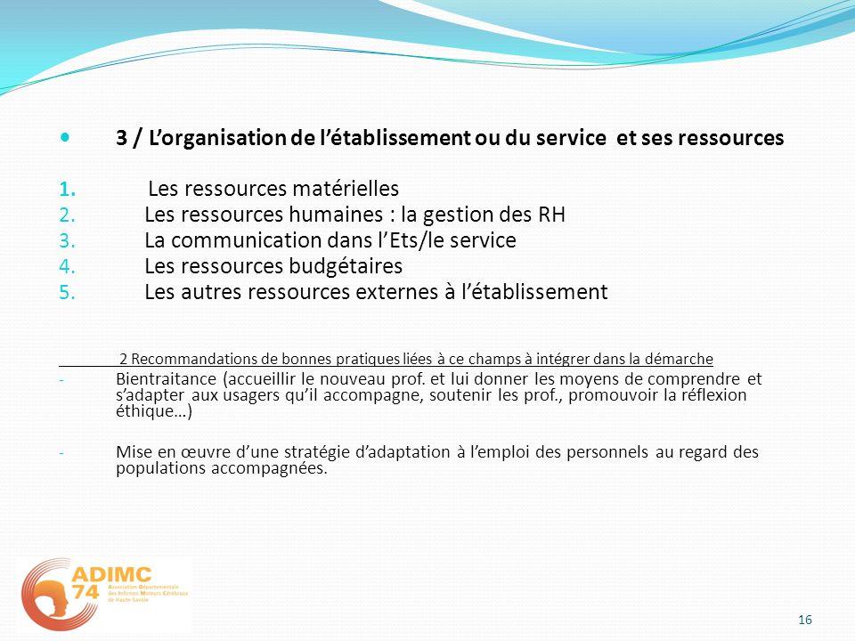 3 / L'organisation de l'établissement ou du service et ses ressources